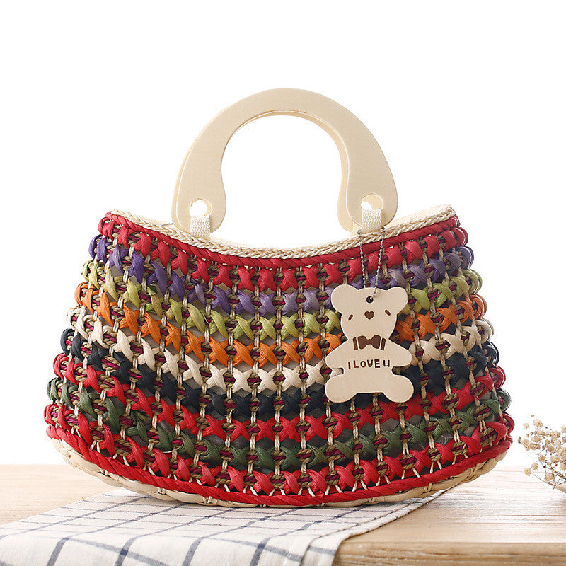 Casual  bear image printed woven sling bag handbag