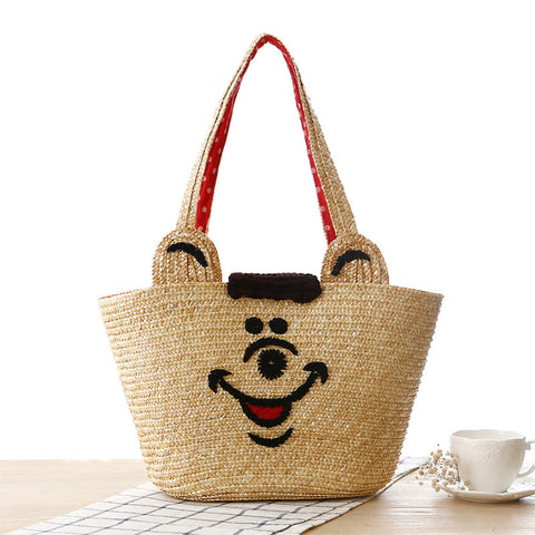 Cute smile bear printed hand woven shoulder bag