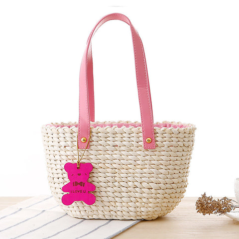 Cute mini bear pendant hand knitting cuim bag
