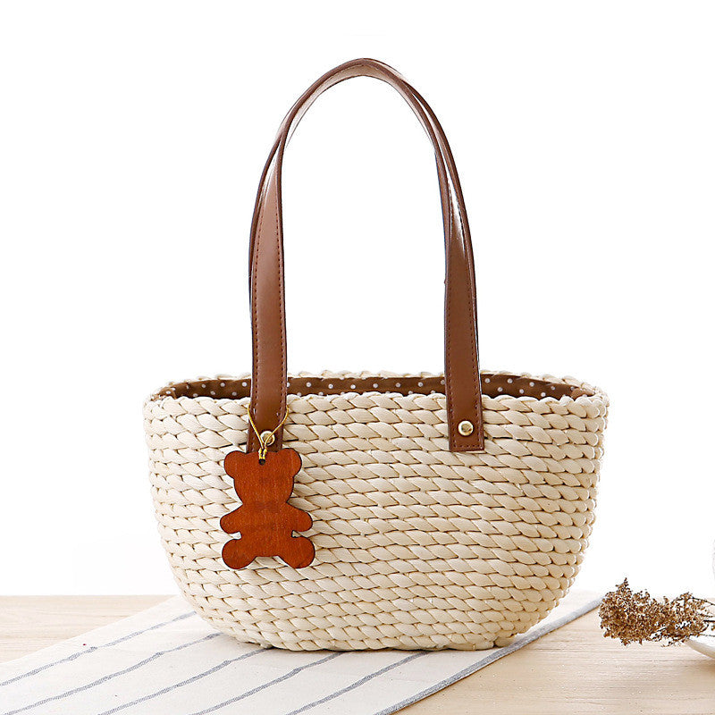 Cute mini bear pendant hand knitting cuim bag - cultureincart.com