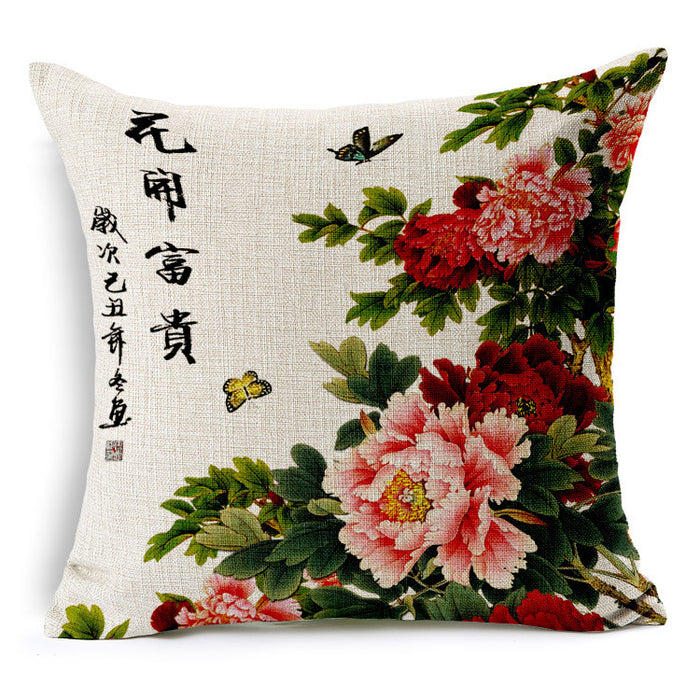 Chinese classical style hand painted peony linens back cushion - cultureincart.com