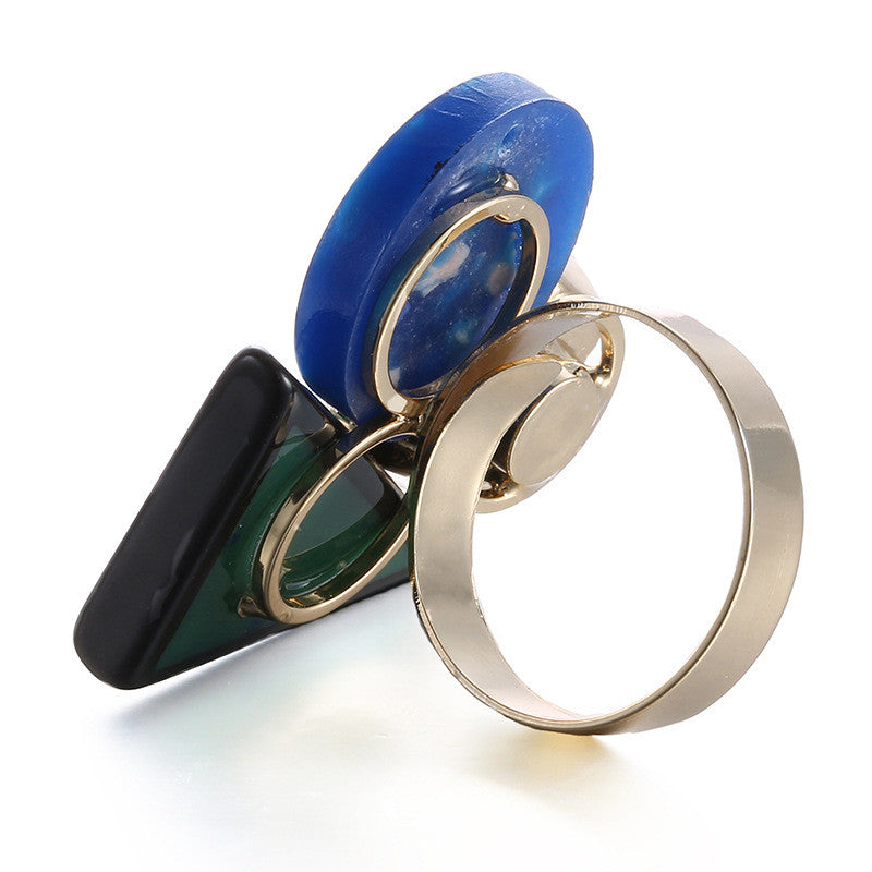 Colorful resin punk style ring
