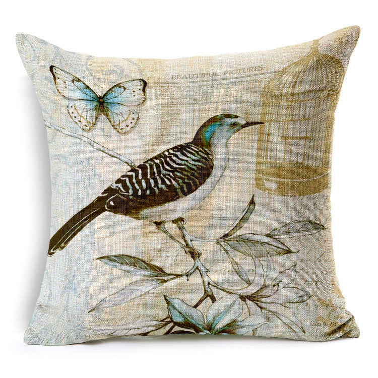 Vintage style hand painted birds and flowers linens fabric back cushion