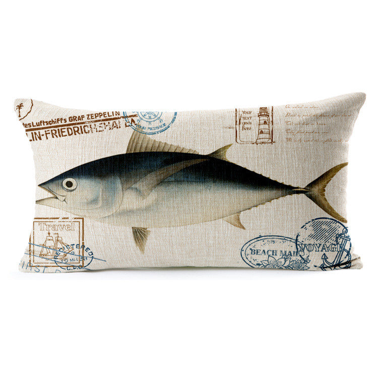 Hand painted marine style  fabric linens back cushion