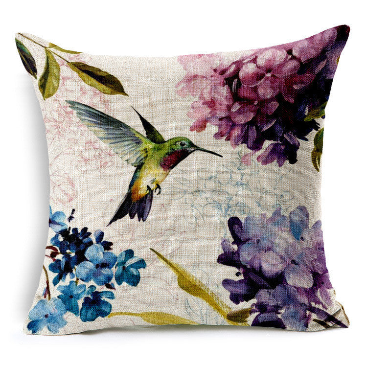 Hand painted fresh style hummingbird pattern linens soft back cushion
