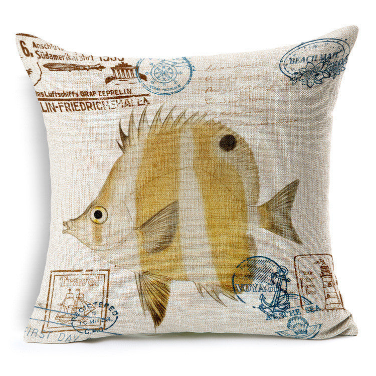 Hand painted marine style  fabric linens back cushion - cultureincart.com