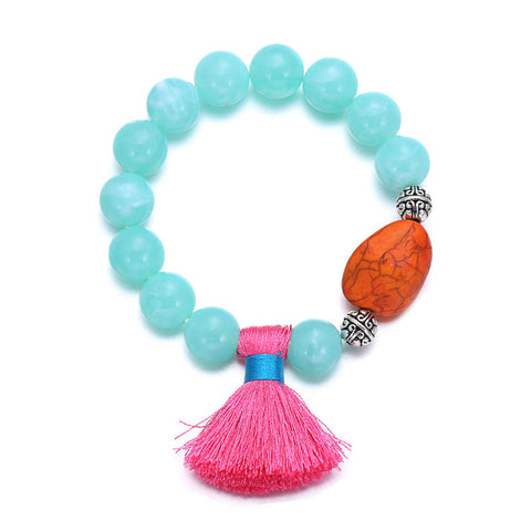Ethnic style tassel multicolored silk resin hand chain