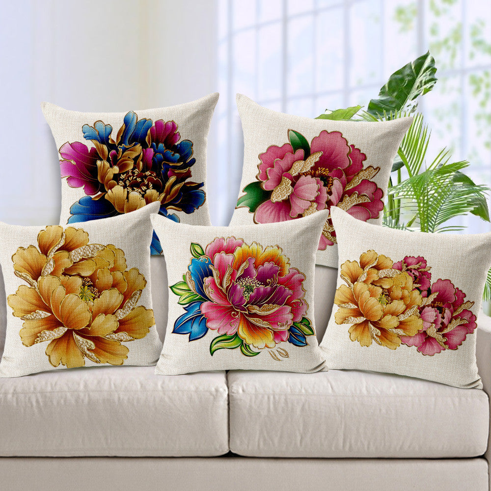 Golden hand painted peony fabric linens soft back cushion - cultureincart.com