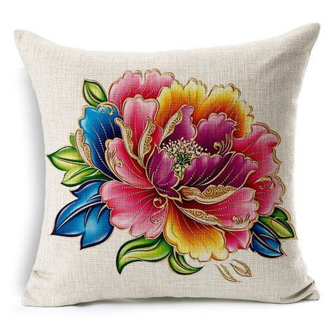 Golden hand painted peony fabric linens soft back cushion