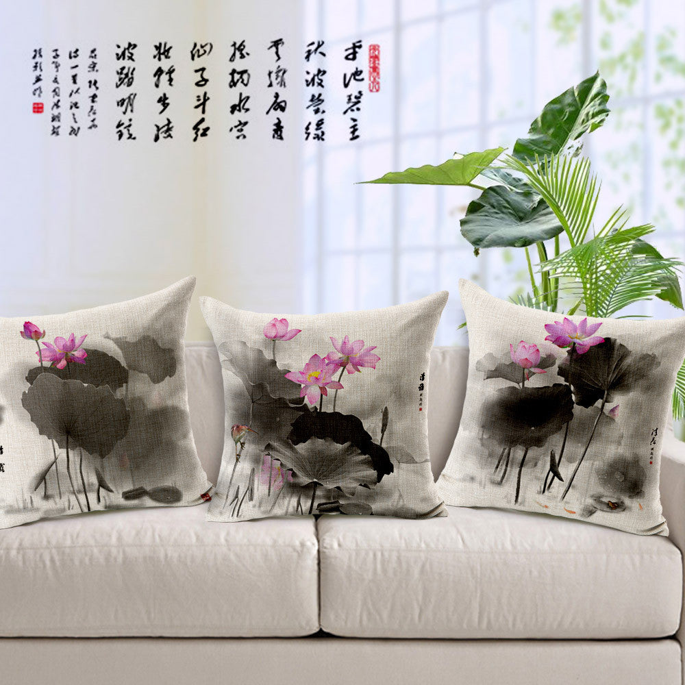 Traditional ink lotus painted fabric linens  back cushion