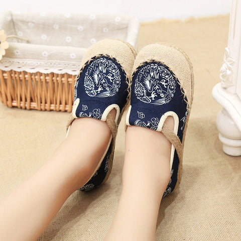 Classical style vintage printed flattied flax shoes