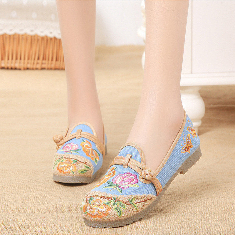 Fashionable vintage embroidered printed handmade ventilate flattied shoes - cultureincart.com