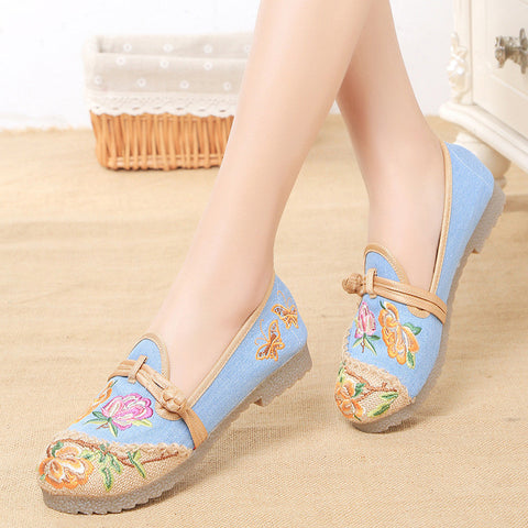Fashionable vintage embroidered printed handmade ventilate flattied shoes