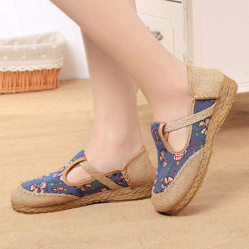 Summer fashionable vintage round flattied flax shoes