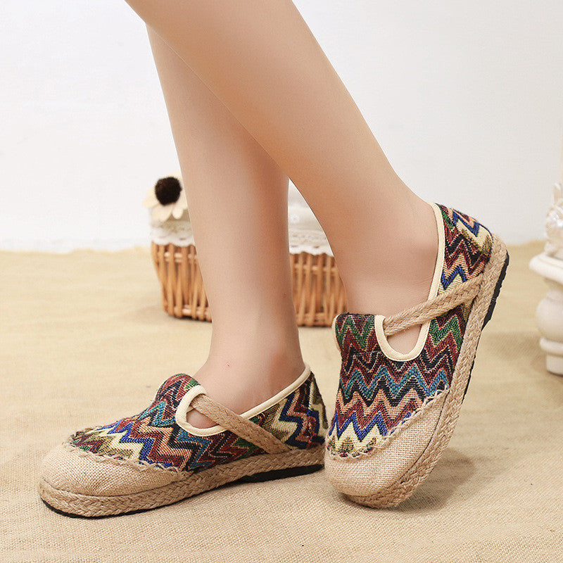 Classical style vintage printed linens handmade antiskid and anti-friction shoes