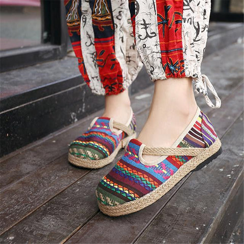 Vintage handmade knitted flattied shoes