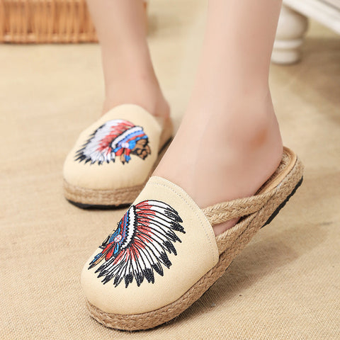 Spring fashionable folkstyle embroidered printed handmade ventilate flattied flax shoes
