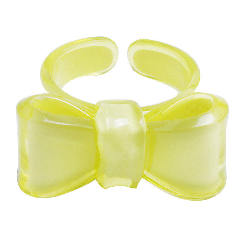 Candy color bow tie shaped round ring - cultureincart.com