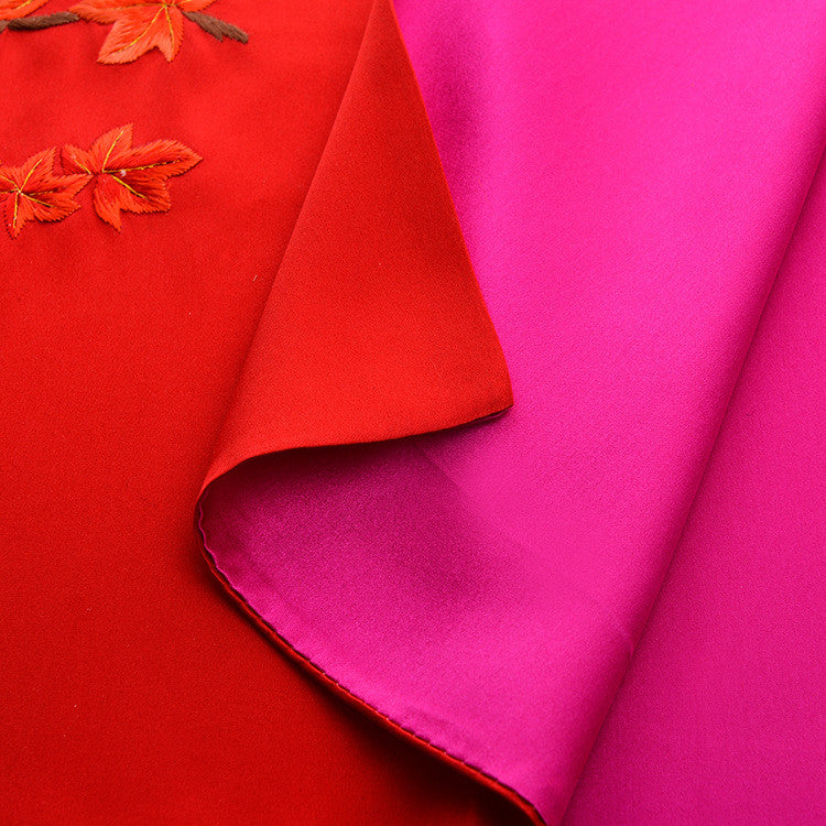 Su embroidery red maple leaves natural silk scarves