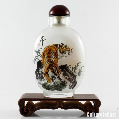 Tiger and Bamboo Chinese Painting Snuff Bottle