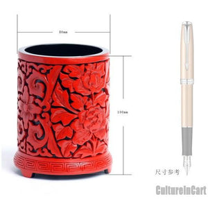 Aulic Carved Lacquer Peony Brush Pot - cultureincart.com