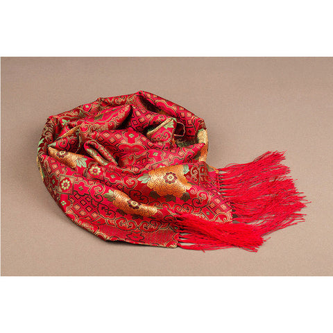 Finest nature silk handmade red embroidered peony nanjing brocade scarf