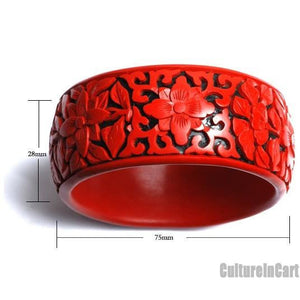 Four Seasons Flower Broad Carved Lacquer Bracelet - cultureincart.com
