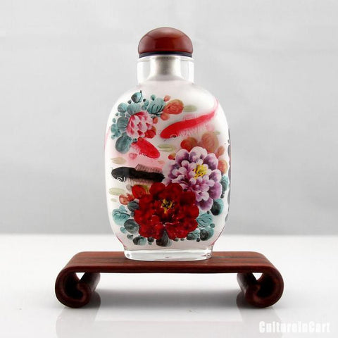 Carp and Peony Inner Painting Snuff Bottle