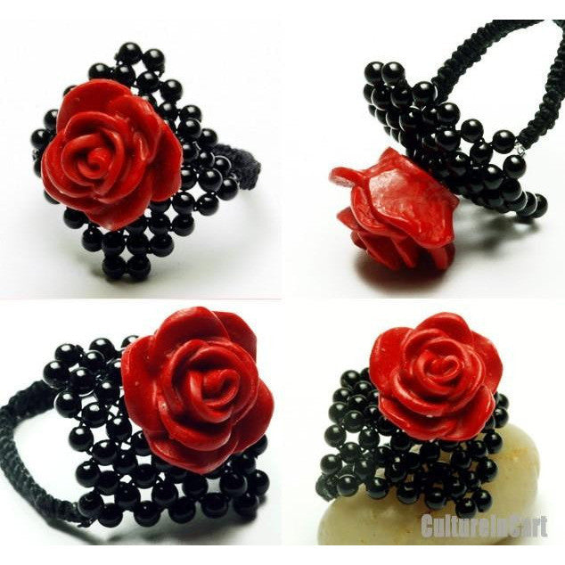 Classical Handmade Black Agate Carved Lacquer Rose Ring - cultureincart.com