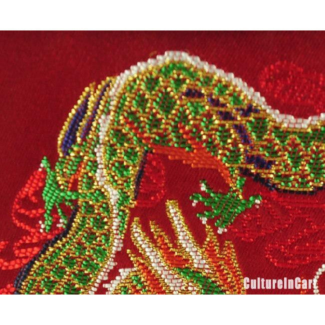 """ Dragon and Phoenix Bringing Auspiciousness "" Brocade Folded Screen - cultureincart.com"