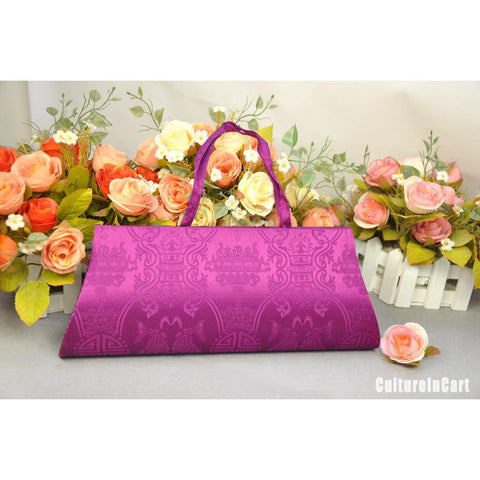 Purple Chrysanthemum Hand Embroidery Handbag