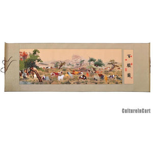 """One Hundred Horses"" Suzhou Embroidery Scroll - cultureincart.com"