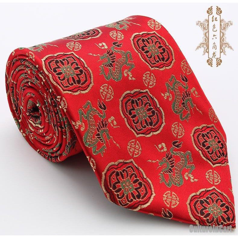 Silk embroidered little dragon and traditional patterns red nanjing brocade tie
