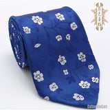 Silk embroidered little white plum blossom blue nanjing brocade tie