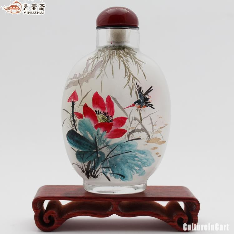Lotus Chinese Painting Snuff Bottle