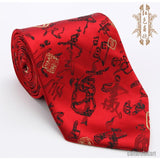 "Silk embroidered Chinese character ""Chun"" (Spring) red nanjing brocade tie"
