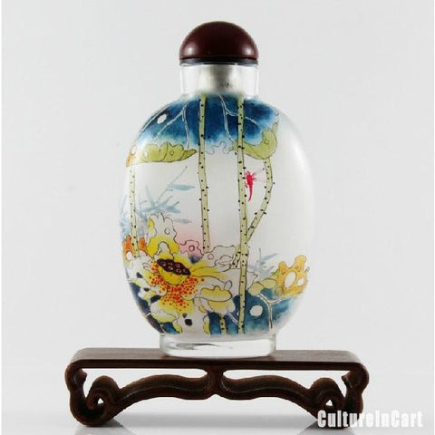 Mandarin Duck and Lotus Snuff Bottle