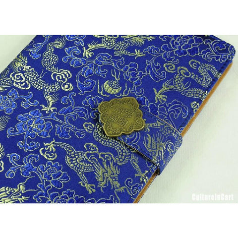 Blue Embroidered Dragon Brocade NoteBook