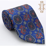 Silk embroidered dragon and traditional patterns blue nanjing brocade tie - cultureincart.com