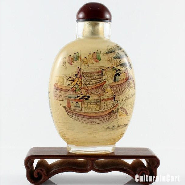 Along the River During the Qingming Festival Chinese Painting Snuff Bottle
