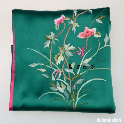 Handmade Embroidered Cymbidium Silk Scarves