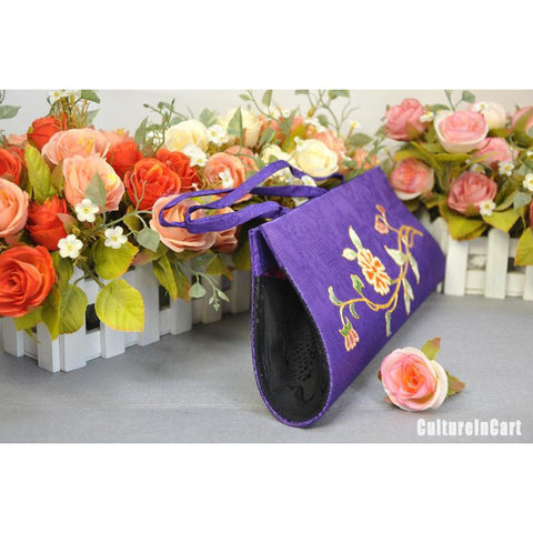 Blue Chrysanthemum Hand Embroidery Handbag