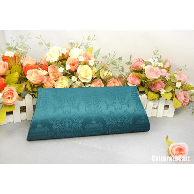 Light Blue Orchid Hand Embroidery Handbag - cultureincart.com