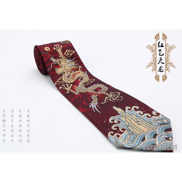 Nature silk golden embroidered dragon dark red nanjing brocade tie