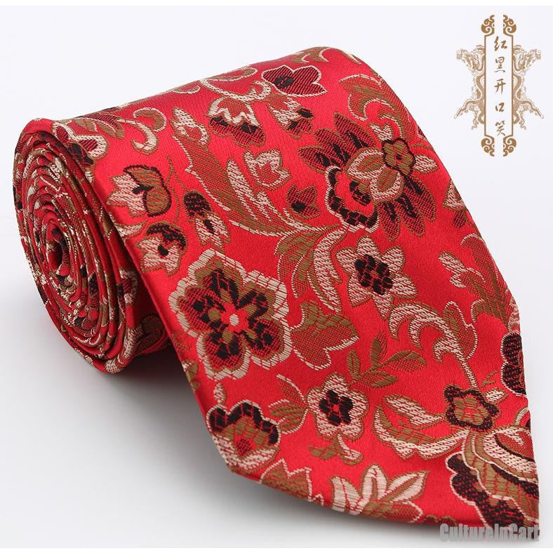 Silk embroidered peony red nanjing brocade tie