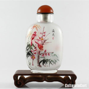 Sparrows Bamboo Inner Painting Snuff Bottle - cultureincart.com