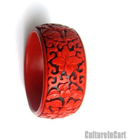 63mm Handmade Four Seasons Flower Carved Lacquer Bracelet - cultureincart.com