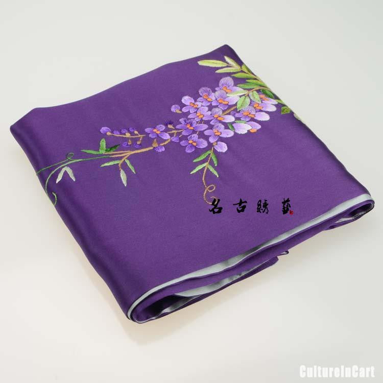 Purple Handmade Embroidered Silk Scarves