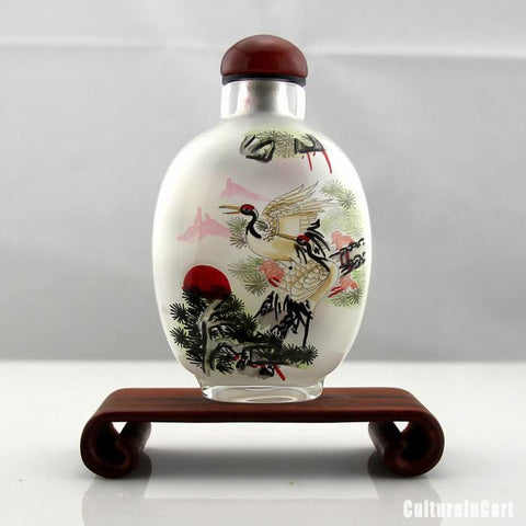 Longevity Crane Inner Painting Snuff Bottle