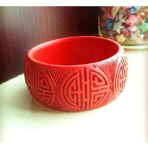 Double Happiness Carved Lacquer Bracelet